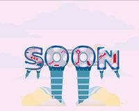 Coming Soon illustration. Icon page text rasterized Royalty Free Stock Photos
