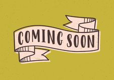 Coming Soon lettering or inscription written with modern font on elegant ribbon or tape isolated on yellow background. Colored vector illustration for video stock illustration