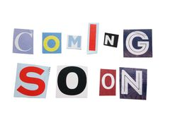 Coming Soon letters. Coming Soon text in cutout paper letters, isolated on white Royalty Free Stock Photos
