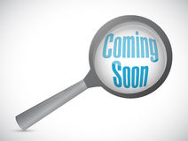 Coming soon magnify glass sign concept Stock Image