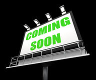 Coming Soon Media Sign Shows New or Future Stock Photography
