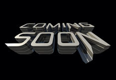 Coming soon message on black background RAW render Stock Photography