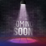 Coming Soon Message Illuminated With Light Spotlight Projector. Brick Wall And Stage Realistic Vector