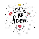 Coming soon Mother motherhood pregnancy quote lettering royalty free illustration