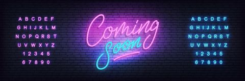 Coming soon neon sign. Lettering Coming soon for promotion, advertisement, sale, marketing.  royalty free illustration