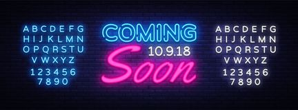 Coming Soon neon sign vector. Coming Soon Design template neon sign, light banner, neon signboard, nightly bright. Advertising, light inscription. Vector royalty free illustration