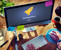 Coming Soon Opening Promotion Announcement Concept. People Viewing Coming Soon Opening Promotion Stock Photography