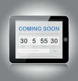 Coming soon page. Design on tablet Royalty Free Stock Photo