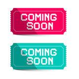 Coming Soon Pink and Blue Paper Tickets Stock Images