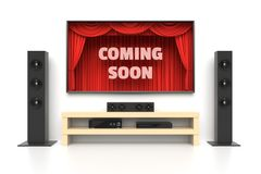 Coming Soon poster with home cinema. Coming Soon poster. Home cinema set with large lcd tv panel with theater curtains, music speakers, video player. Revealing Stock Photos