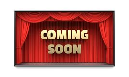 Coming Soon poster with red stage curtains 3D illustration. Coming Soon poster. Golden letters, red stage curtains revealing a message. Cable tv show stock photos