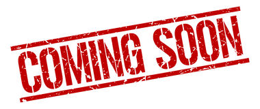 Coming soon red grunge square  stamp. Coming soon red grunge square vintage rubber stamp Royalty Free Stock Photo