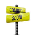 Coming soon road sign illustration design. Over a white background Royalty Free Stock Photography