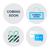 Coming soon shopping icons set Stock Photos
