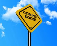 Coming soon sign. Illustration of coming soon sign with blue sky and cloudscape background Stock Photos