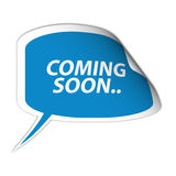 Coming soon sign. Illustration of abstract coming soon sigh in shape of label with peeled corner, white background Royalty Free Stock Image