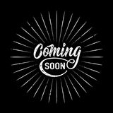 Coming soon sign isolated on black background. With explosion burst rays, round shape. Vector illustration stock illustration