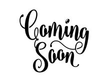 Coming soon sign isolated on white background, lettering word text. Vector illustration Stock Images