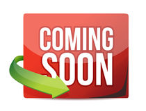 Coming soon sticker and arrow Stock Photos