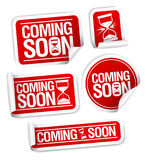 Coming soon stickers. Royalty Free Stock Image