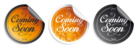 Coming soon stickers. Royalty Free Stock Photo