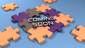 Coming soon text with color puzzle background Royalty Free Stock Image
