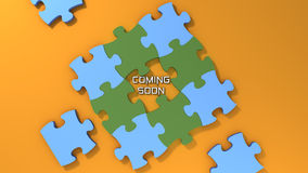 Coming soon text with color puzzle background Stock Photography