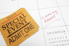 Coming soon ticket. Special Event ticket stub on a calendar with Coming Soon text royalty free stock image