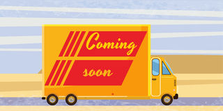 Coming soon, truck, speed, card stock illustration
