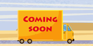 Coming soon, truck, speed, card royalty free illustration