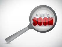 Coming soon under magnify search investigation Royalty Free Stock Photo