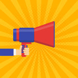 Coming soon vector banner. Announcement megaphone Royalty Free Stock Photos