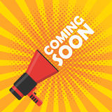 Coming soon vector banner. Announcement megaphone royalty free illustration