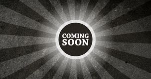 Coming Soon Vintage Intro Button with Retro Look Rendered Animation in Black