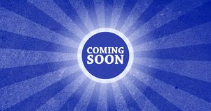 Coming Soon Vintage Intro Button with Retro Look Rendered Animation in Blue