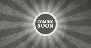 Coming Soon Vintage Intro Button with Retro Look Rendered Animation in Grey