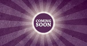 Coming Soon Vintage Intro Button with Retro Look Rendered Animation in Purple