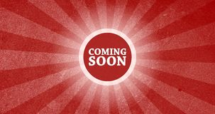 Coming Soon Vintage Intro Button with Retro Look Rendered Animation in Red