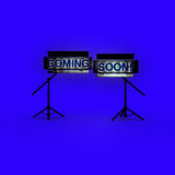 COMING SOON word on yelow background Stock Photos