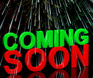 Coming Soon Words With Fireworks Stock Photography