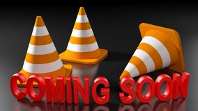Coming soon write with warning street cones - 3D rendering royalty free illustration