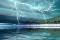 Coming Storm. Ominous thunderclouds and lightning over the mountains Royalty Free Stock Images
