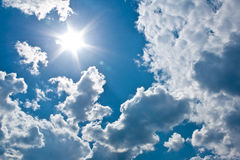 Coming of sun. Sun is coming out of the clouds Royalty Free Stock Images
