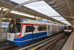 A coming train of Bangkok Mass Transit System commonly known as BTS or Skytrain Stock Images