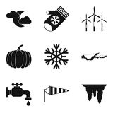 Coming winter icon set, simple style. Coming winter icon set. Simple set of 9 coming winter vector icons for web design isolated on white background Royalty Free Stock Image
