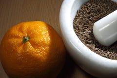 Cominhos e laranja imagens de stock royalty free