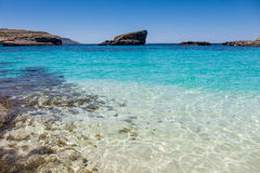 Comino Blue Lagoon. Famous Blue Laggon on Comino near Malta Stock Photos
