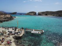 Comino and the Blue Lagoon. Malta. Located between Malta and Gozo, Comino is the smallest island in the Maltese archipelago, with an area of 3.5 square Stock Photo