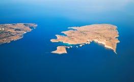 Comino island and blue lagoon from above, Malta. Comino island and blue lagoon with azure water from above, Malta, EU Royalty Free Stock Photography