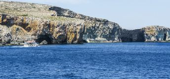 Comino is a island of the Maltese archipelago. Comino is a small island of the Maltese archipelago between the islands of Malta and Gozo in the Mediterranean Sea Stock Images